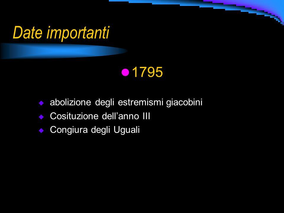 Date importanti 1795 abolizione degli estremismi giacobini