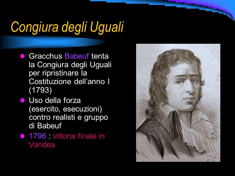 Congiura degli Uguali Gracchus Babeuf tenta la Congiura degli Uguali per ripristinare la Costituzione dell'anno I (1793)