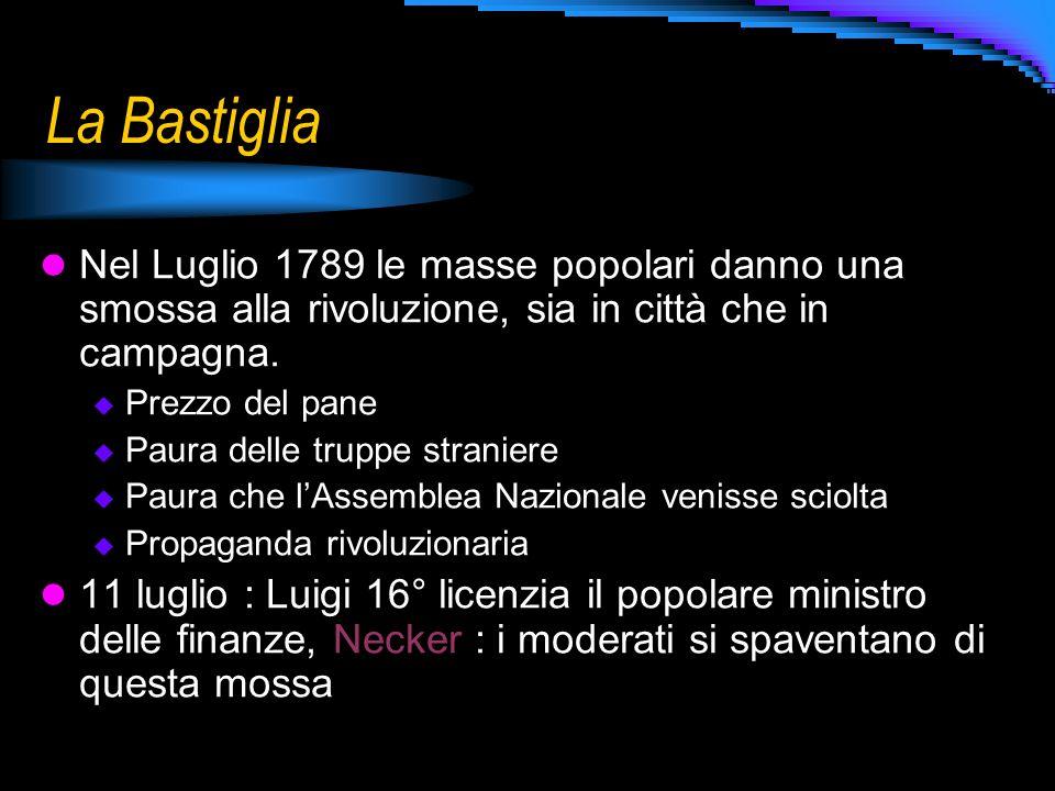 La Bastiglia Nel Luglio 1789 le masse popolari danno una smossa alla rivoluzione, sia in città che in campagna.