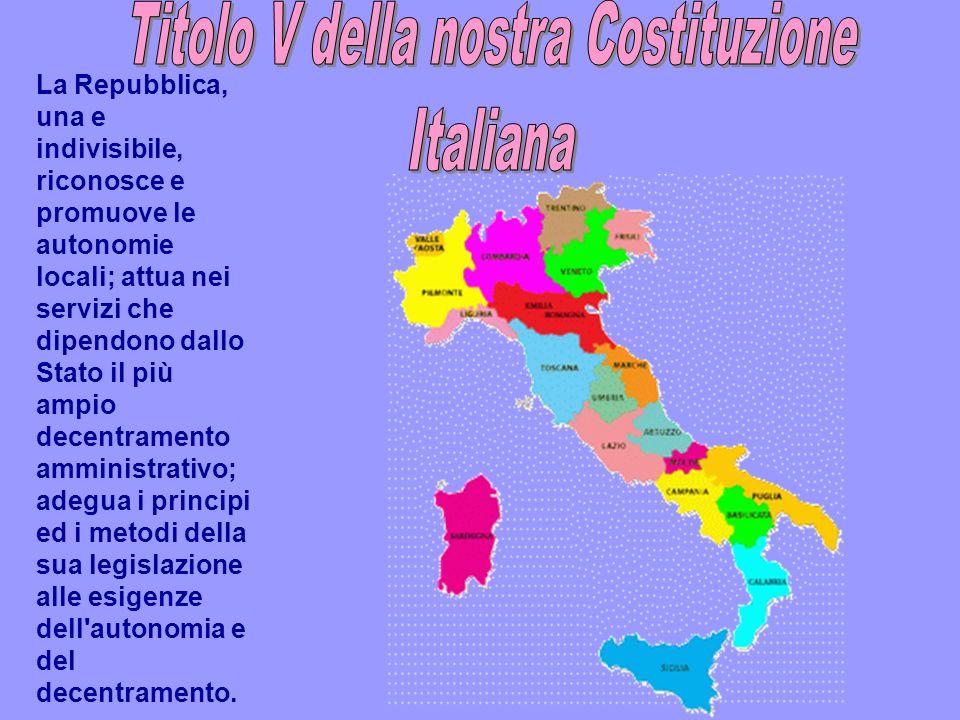 Titolo V della nostra Costituzione