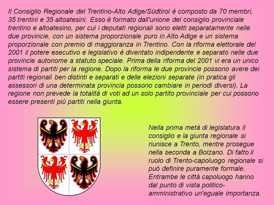 Il Consiglio Regionale del Trentino-Alto Adige/Südtirol è composto da 70 membri, 35 trentini e 35 altoatesini. Esso è formato dall unione del consiglio provinciale trentino e altoatesino, per cui i deputati regionali sono eletti separatamente nelle due provincie, con un sistema proporzionale puro in Alto Adige e un sistema proporzionale con premio di maggioranza in Trentino. Con la riforma elettorale del 2001 il potere esecutivo e legislativo è diventato indipendente e separato nelle due provincie autonome a statuto speciale. Prima della riforma del 2001 vi era un unico sistema di partiti per la regione. Dopo la riforma le due provincie possono avere dei partiti regionali ben distinti e separati e delle elezioni separate (in pratica gli assessori di una determinata provincia possono cambiare in periodi diversi). La regione non prevede la totalità di voti ad un solo partito provinciale per cui possono essere presenti più partiti nella giunta.
