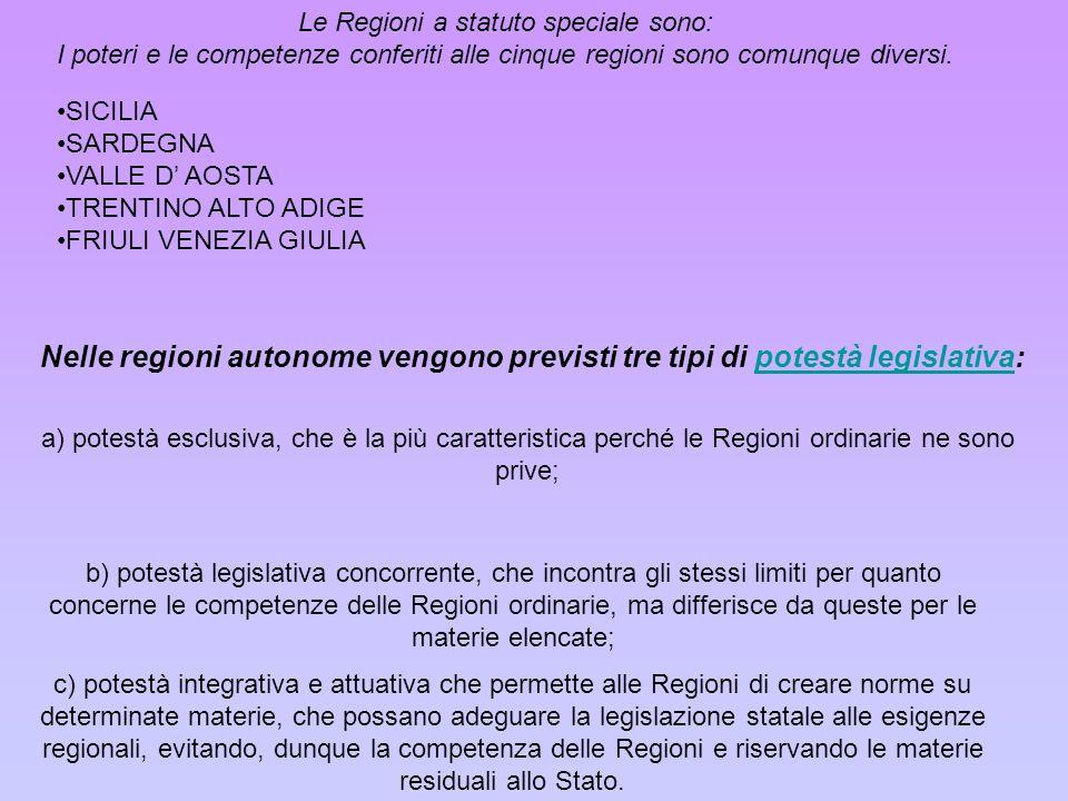 Le Regioni a statuto speciale sono: