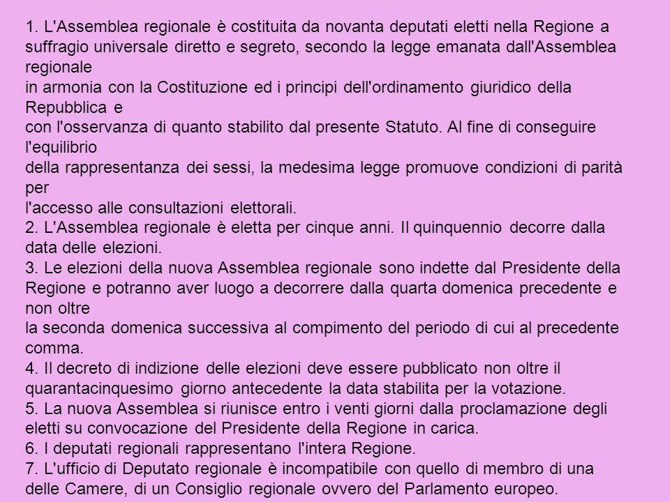 1. L Assemblea regionale è costituita da novanta deputati eletti nella Regione a