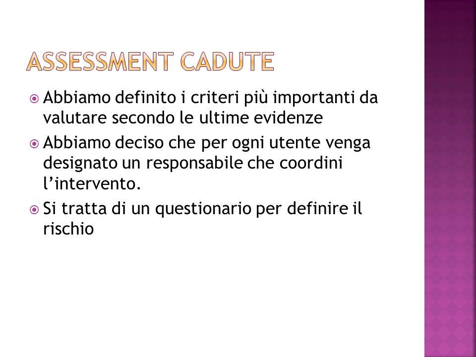 Assessment cadute Abbiamo definito i criteri più importanti da valutare secondo le ultime evidenze.