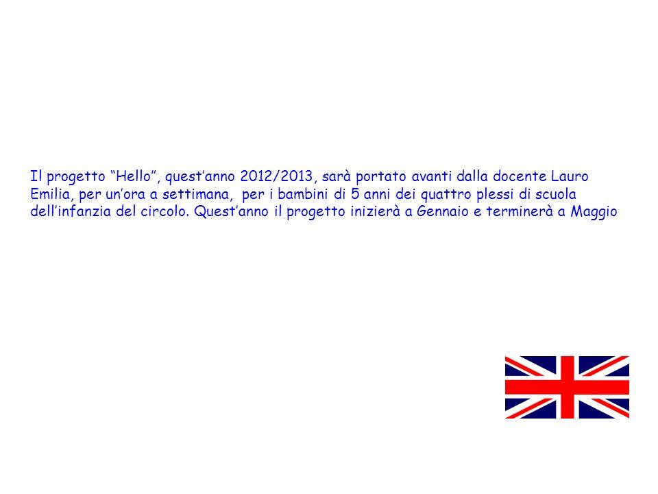 Il progetto Hello , quest'anno 2012/2013, sarà portato avanti dalla docente Lauro Emilia, per un'ora a settimana, per i bambini di 5 anni dei quattro plessi di scuola dell'infanzia del circolo.