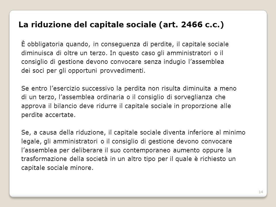 La riduzione del capitale sociale (art. 2466 c.c.)