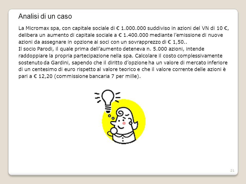 Analisi di un caso La Micromax spa, con capitale sociale di € 1.000.000 suddiviso in azioni del VN di 10 €,