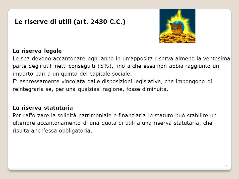 Le riserve di utili (art. 2430 C.C.)