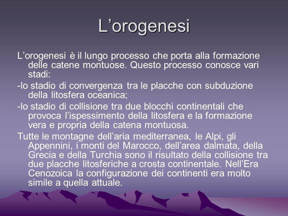 L'orogenesi L'orogenesi è il lungo processo che porta alla formazione delle catene montuose. Questo processo conosce vari stadi: