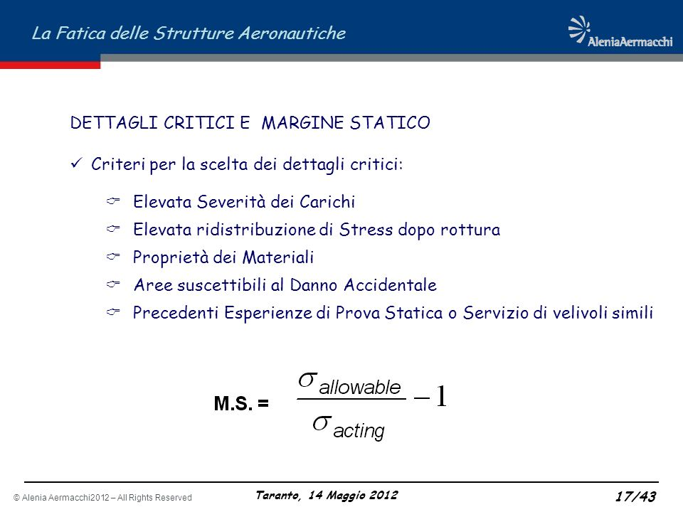 DETTAGLI CRITICI E MARGINE STATICO
