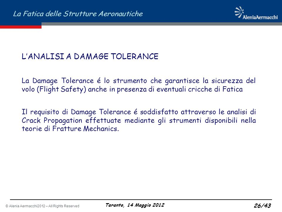 L'ANALISI A DAMAGE TOLERANCE