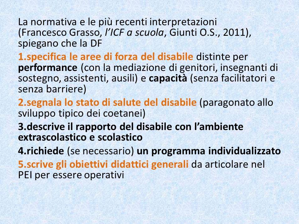 La normativa e le più recenti interpretazioni (Francesco Grasso, l'ICF a scuola, Giunti O.S., 2011), spiegano che la DF