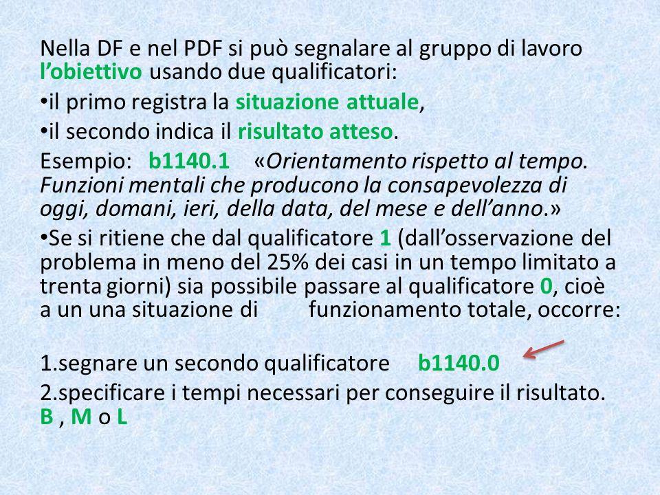 Nella DF e nel PDF si può segnalare al gruppo di lavoro l'obiettivo usando due qualificatori: