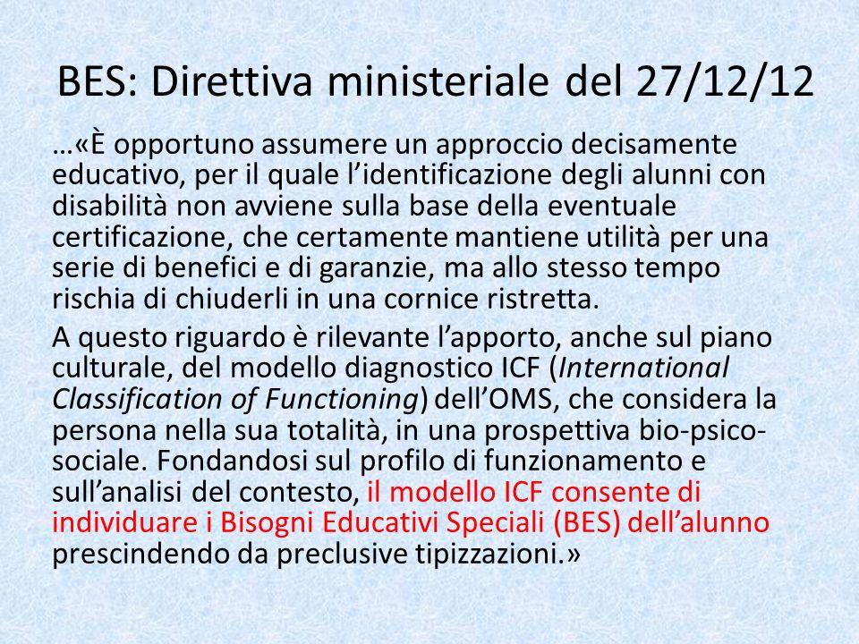 BES: Direttiva ministeriale del 27/12/12