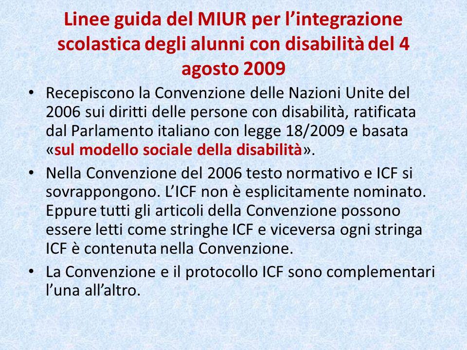 Linee guida del MIUR per l'integrazione scolastica degli alunni con disabilità del 4 agosto 2009