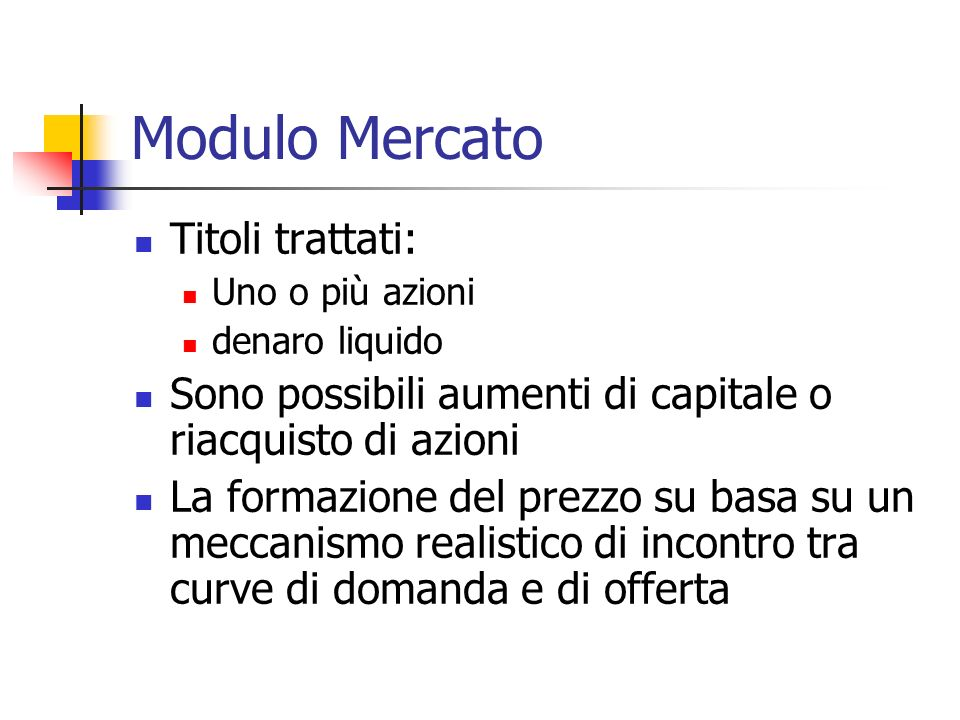 Modulo Mercato Titoli trattati: