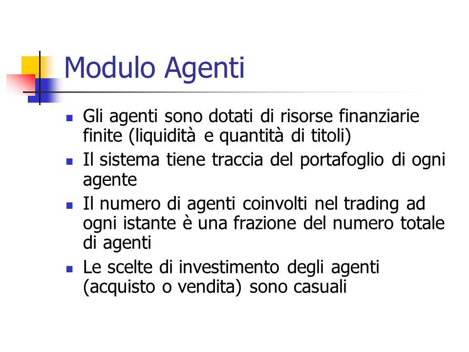 Modulo Agenti Gli agenti sono dotati di risorse finanziarie finite (liquidità e quantità di titoli)
