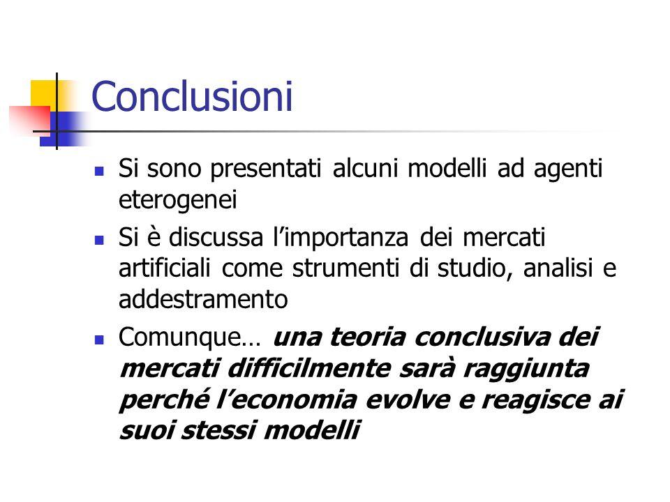 Conclusioni Si sono presentati alcuni modelli ad agenti eterogenei