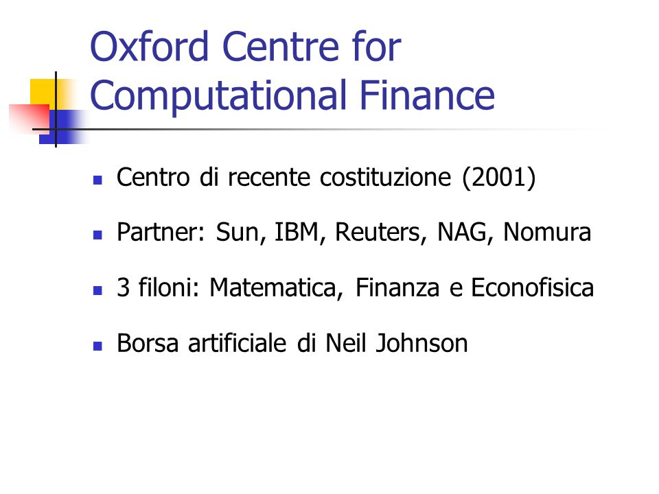 Oxford Centre for Computational Finance