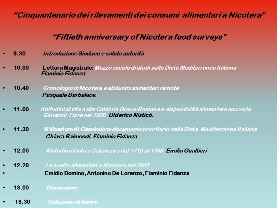 Cinquantenario dei rilevamenti dei consumi alimentari a Nicotera