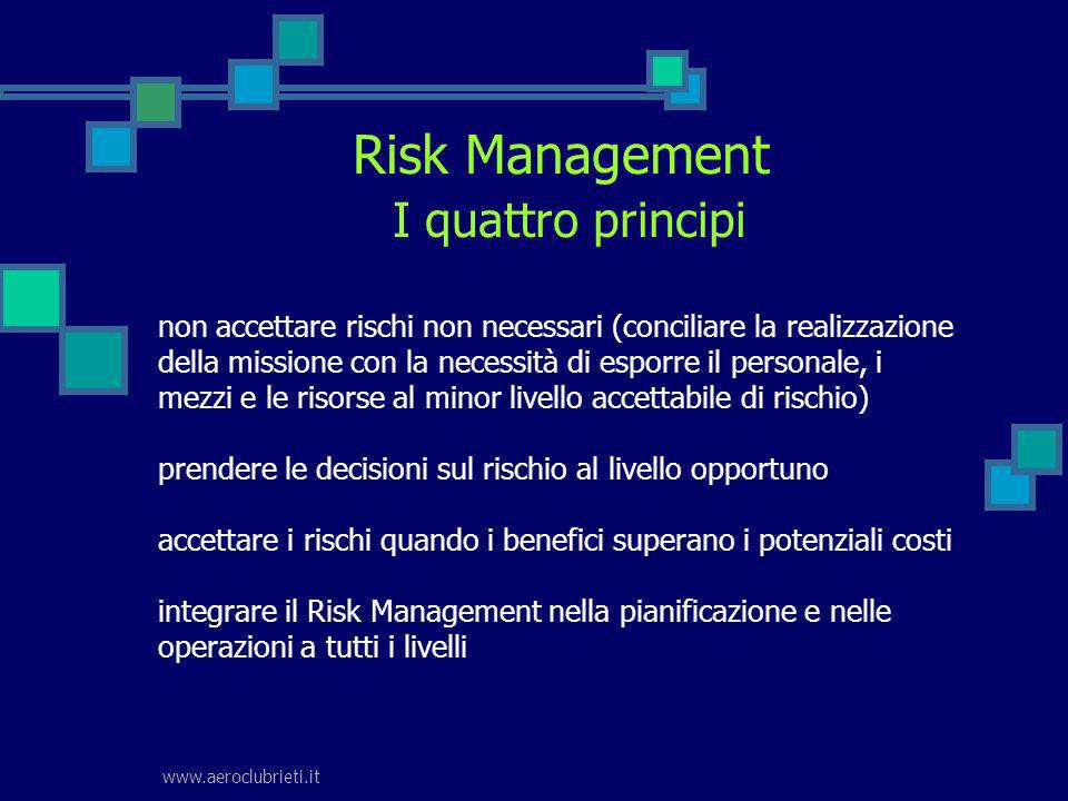 Risk Management I quattro principi