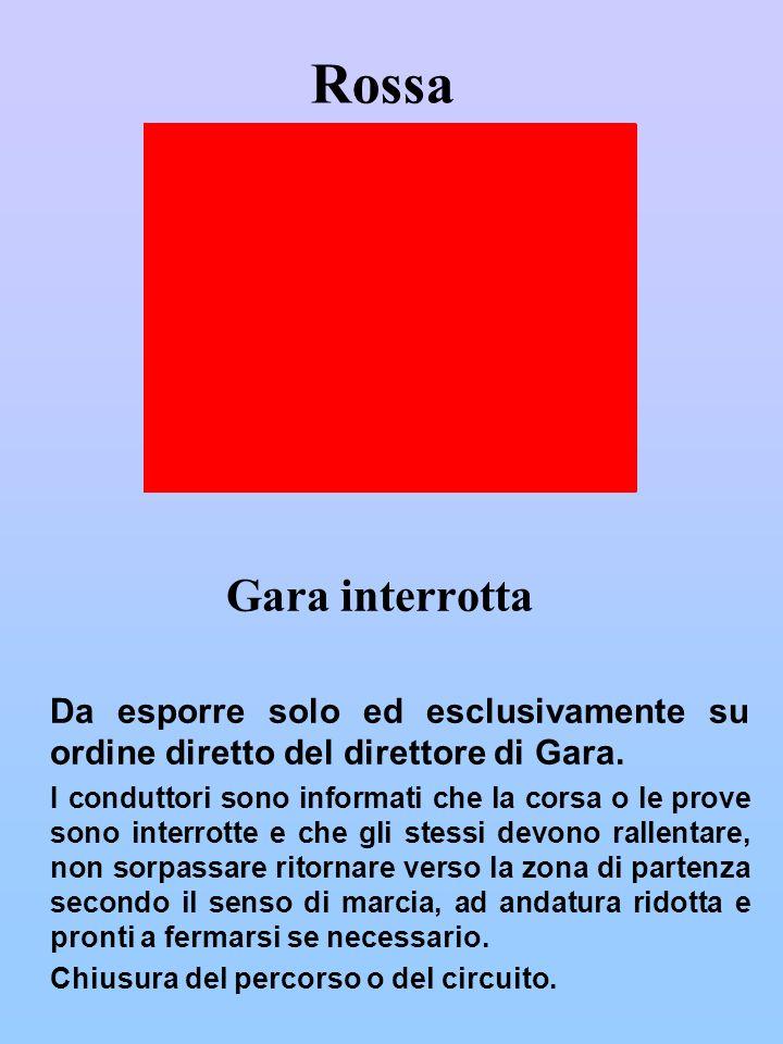 Rossa Gara interrotta. Da esporre solo ed esclusivamente su ordine diretto del direttore di Gara.