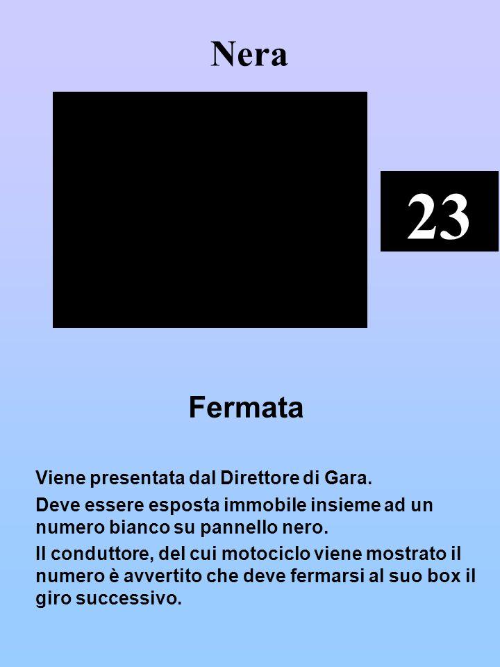 Nera 23. Fermata. Viene presentata dal Direttore di Gara. Deve essere esposta immobile insieme ad un numero bianco su pannello nero.