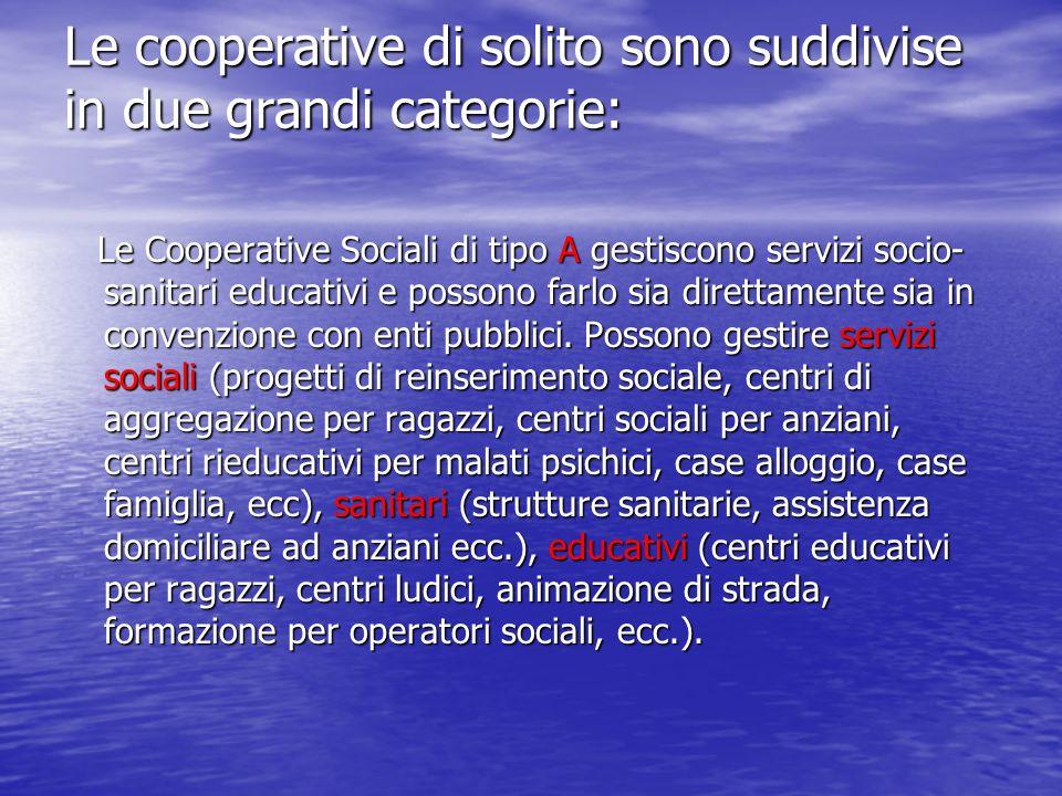 Le cooperative di solito sono suddivise in due grandi categorie: