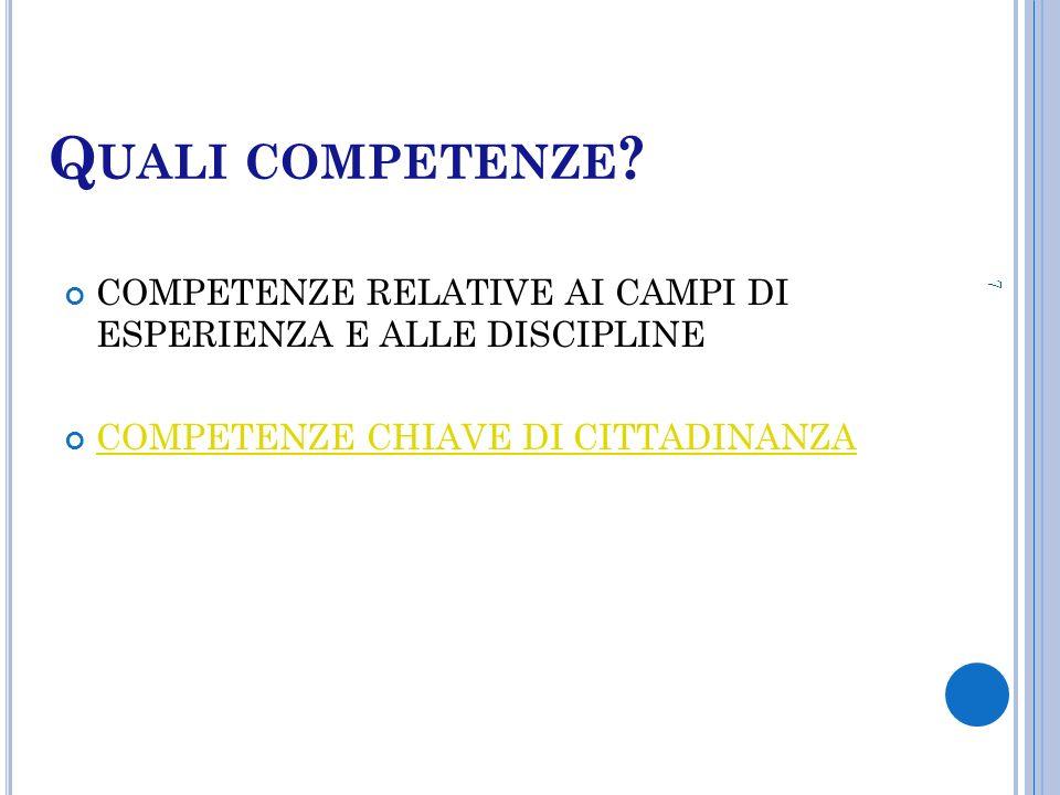 Quali competenze. COMPETENZE RELATIVE AI CAMPI DI ESPERIENZA E ALLE DISCIPLINE.