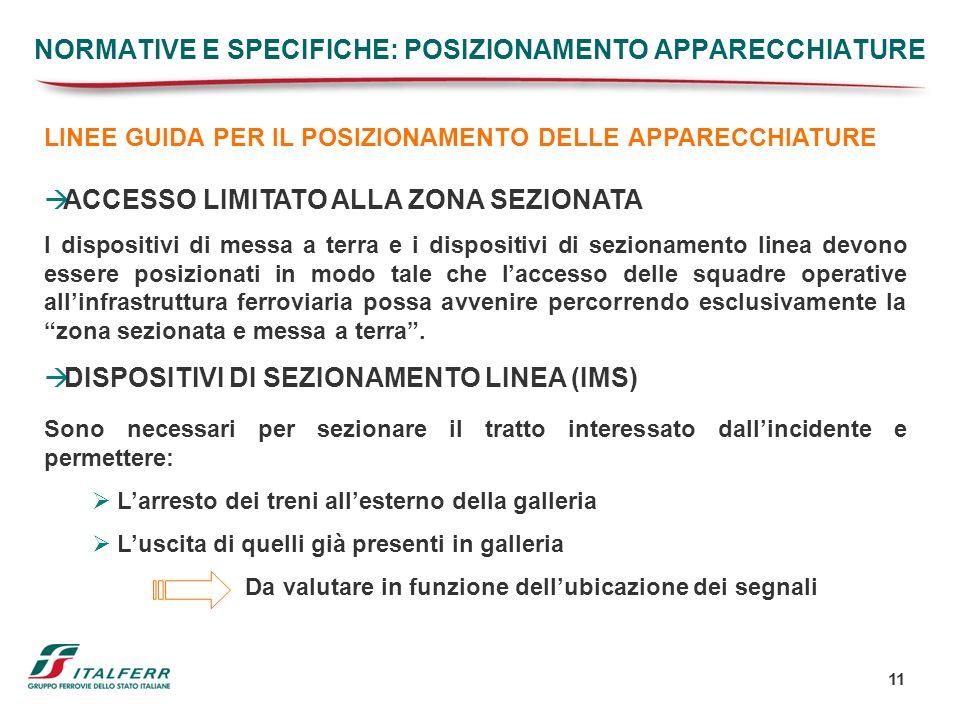 NORMATIVE E SPECIFICHE: POSIZIONAMENTO APPARECCHIATURE