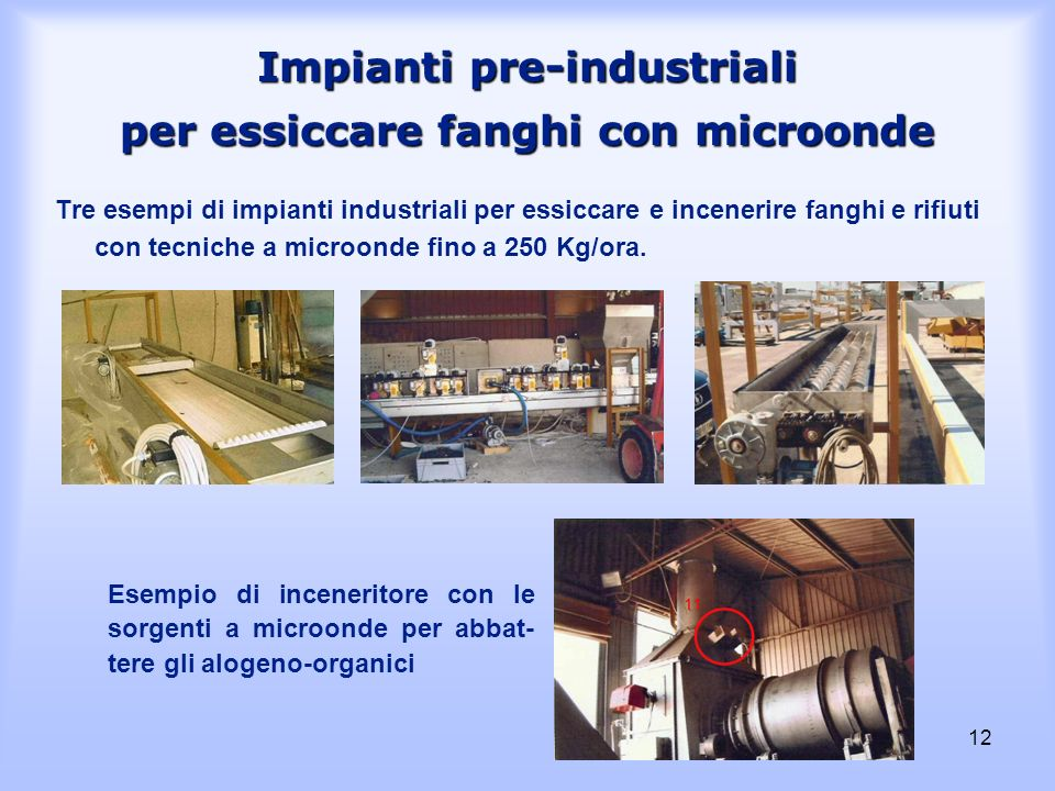 Impianti pre-industriali per essiccare fanghi con microonde