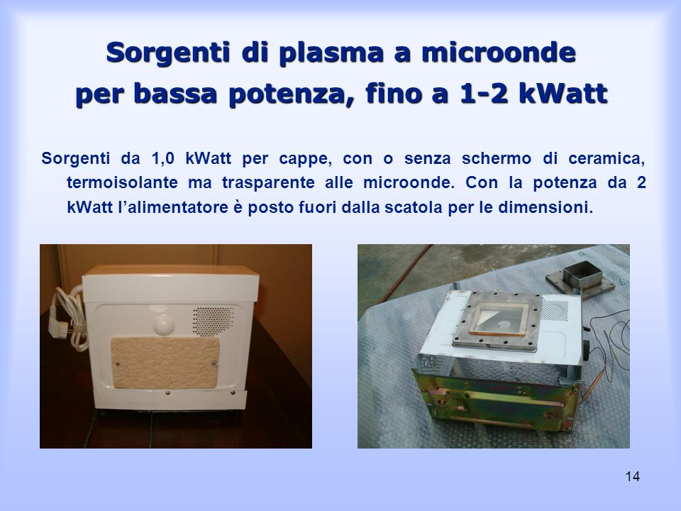 Sorgenti di plasma a microonde per bassa potenza, fino a 1-2 kWatt
