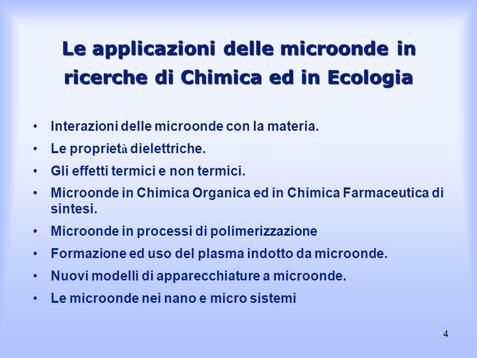 Le applicazioni delle microonde in ricerche di Chimica ed in Ecologia