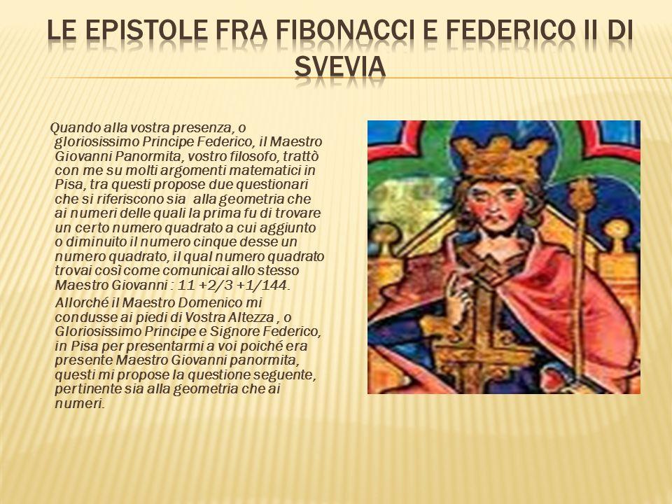 Le epistole fra Fibonacci e Federico II di Svevia