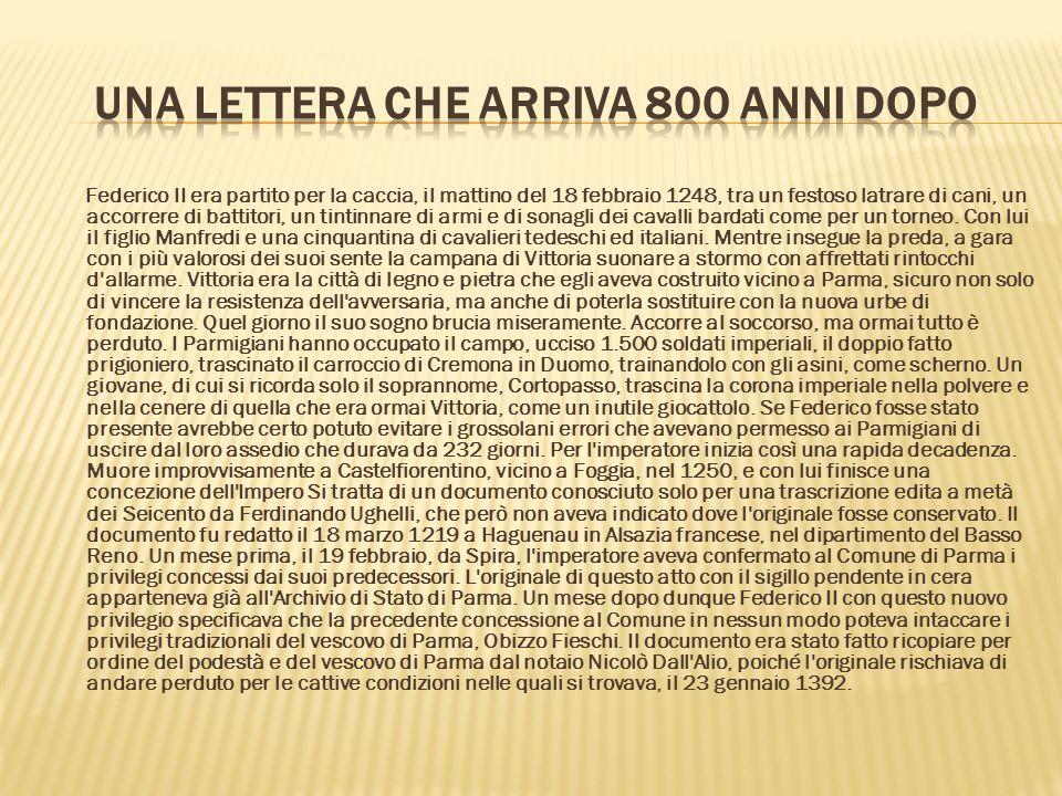 Una lettera che arriva 800 anni dopo