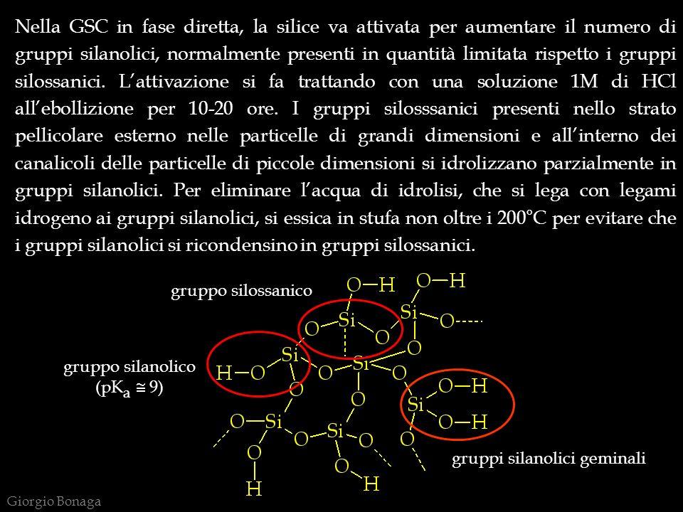 Nella GSC in fase diretta, la silice va attivata per aumentare il numero di gruppi silanolici, normalmente presenti in quantità limitata rispetto i gruppi silossanici. L'attivazione si fa trattando con una soluzione 1M di HCl all'ebollizione per 10-20 ore. I gruppi silosssanici presenti nello strato pellicolare esterno nelle particelle di grandi dimensioni e all'interno dei canalicoli delle particelle di piccole dimensioni si idrolizzano parzialmente in gruppi silanolici. Per eliminare l'acqua di idrolisi, che si lega con legami idrogeno ai gruppi silanolici, si essica in stufa non oltre i 200°C per evitare che i gruppi silanolici si ricondensino in gruppi silossanici.