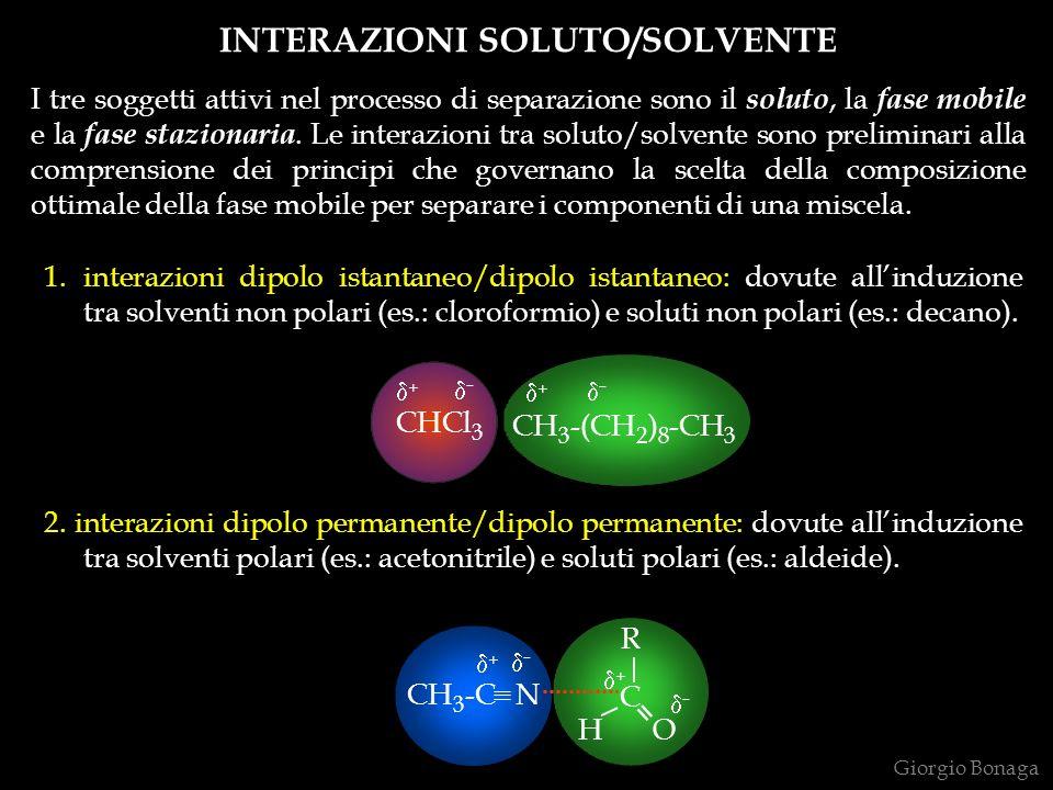 INTERAZIONI SOLUTO/SOLVENTE