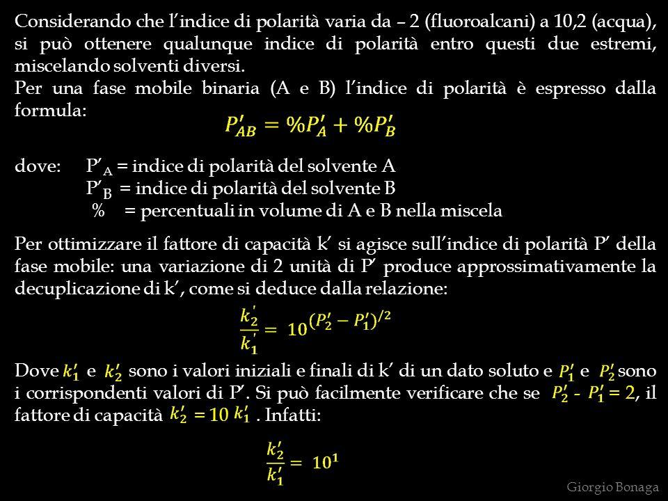 dove: P'A = indice di polarità del solvente A