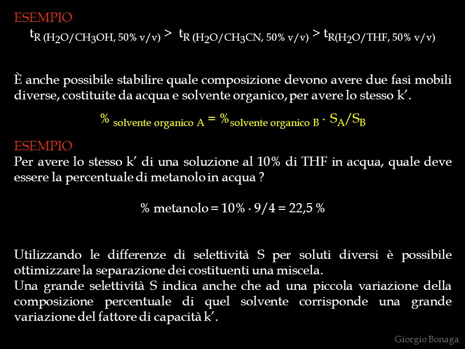 % solvente organico A = %solvente organico B . SA/SB