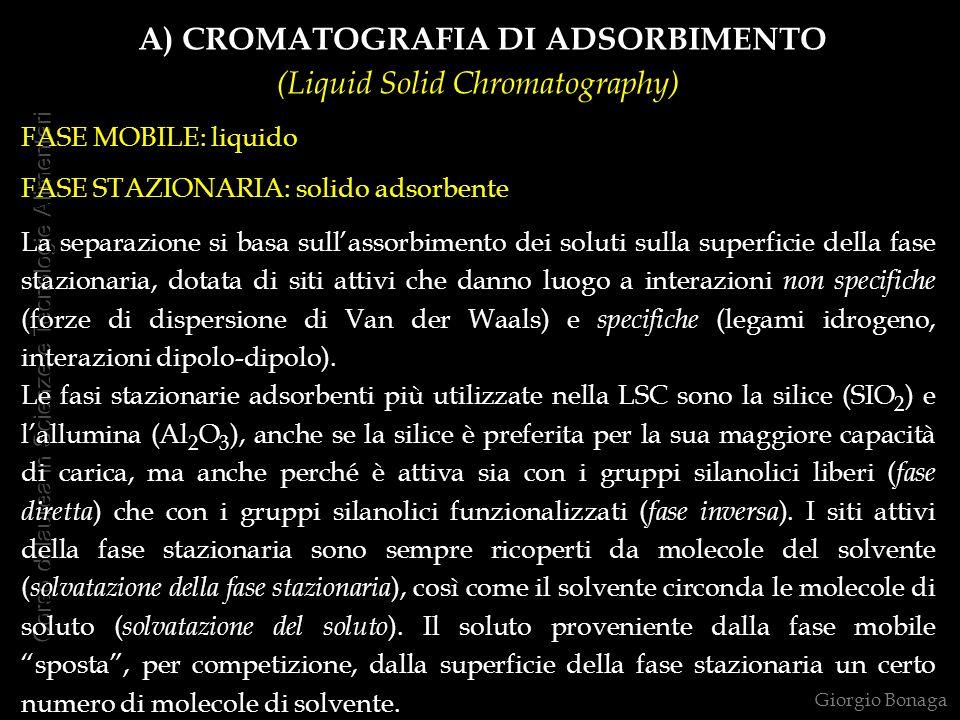 A) CROMATOGRAFIA DI ADSORBIMENTO (Liquid Solid Chromatography)
