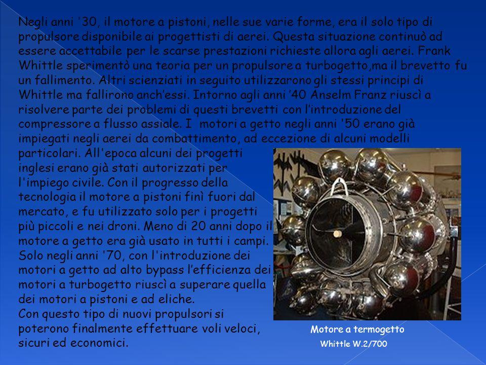 Negli anni 30, il motore a pistoni, nelle sue varie forme, era il solo tipo di propulsore disponibile ai progettisti di aerei.