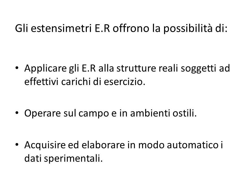 Gli estensimetri E.R offrono la possibilità di: