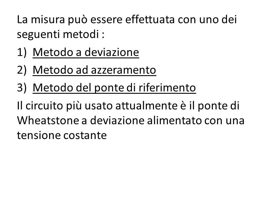 La misura può essere effettuata con uno dei seguenti metodi :