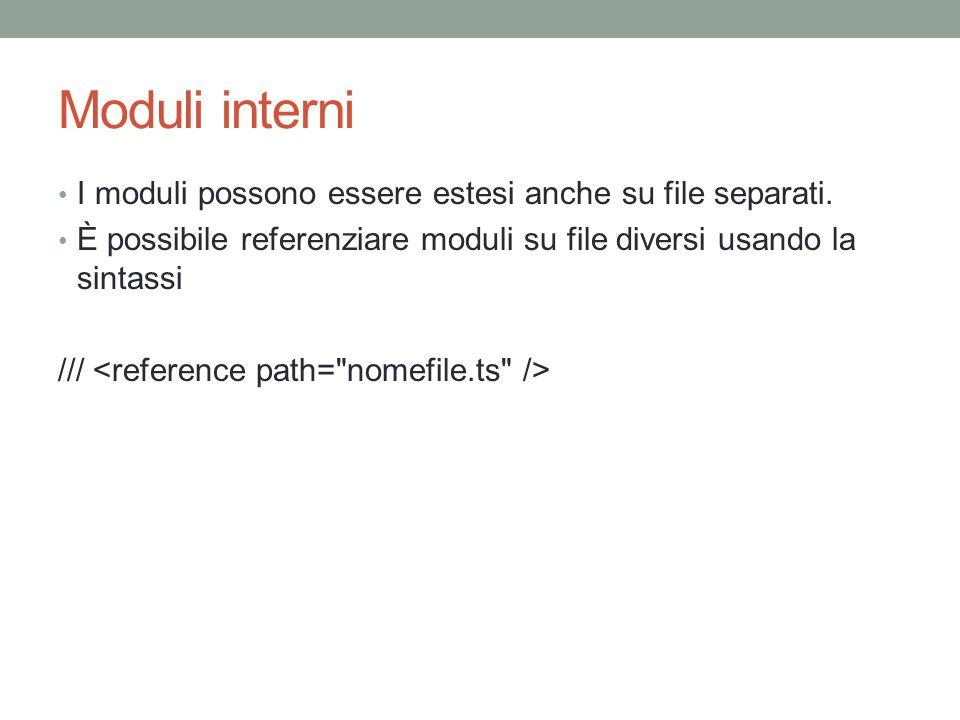 Moduli interni I moduli possono essere estesi anche su file separati.