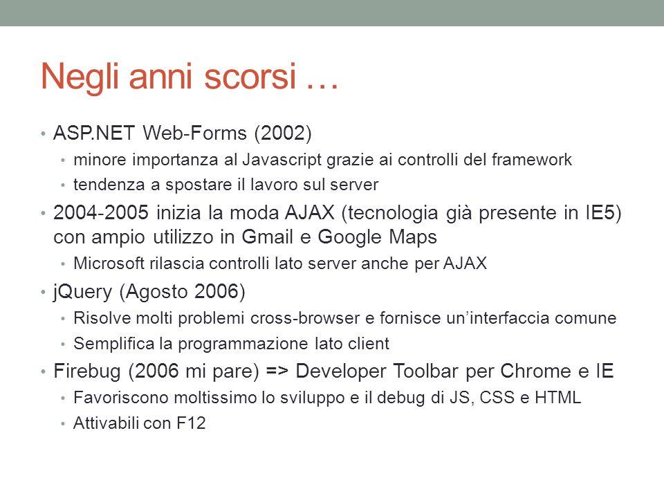 Negli anni scorsi … ASP.NET Web-Forms (2002)