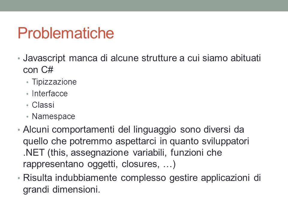Problematiche Javascript manca di alcune strutture a cui siamo abituati con C# Tipizzazione. Interfacce.