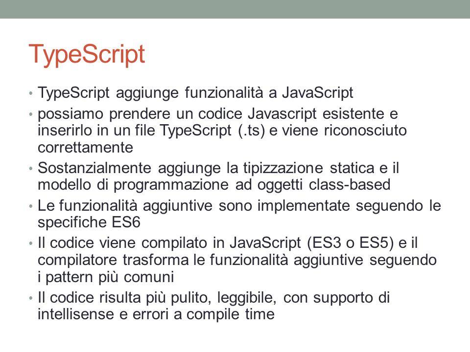 TypeScript TypeScript aggiunge funzionalità a JavaScript