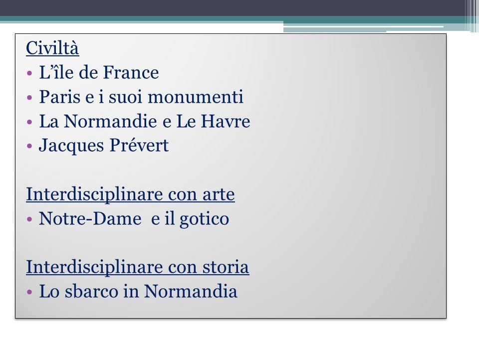CiviltàL'île de France. Paris e i suoi monumenti. La Normandie e Le Havre. Jacques Prévert. Interdisciplinare con arte.