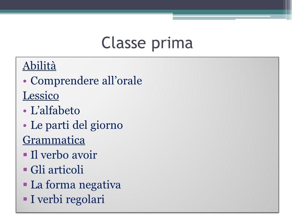 Classe prima Abilità Comprendere all'orale Lessico L'alfabeto