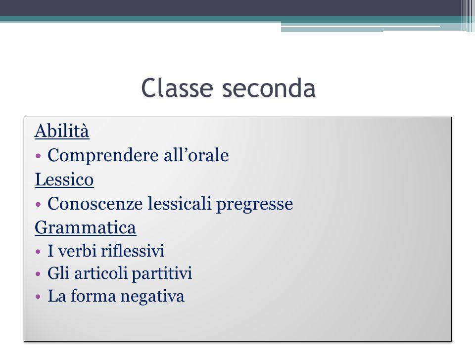 Classe seconda Abilità Comprendere all'orale Lessico